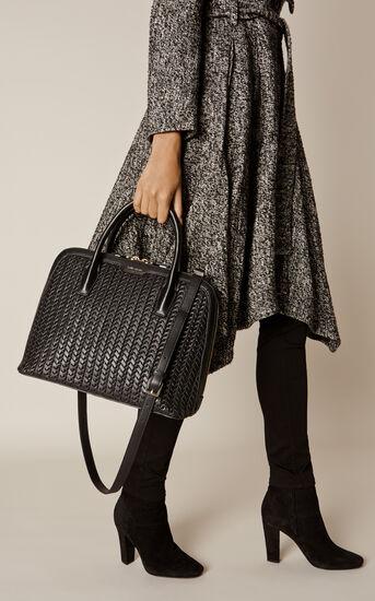 Karen Millen, WOVEN LEATHER BAG Black 1