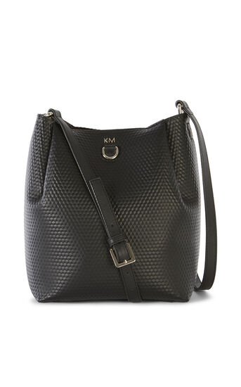 Karen Millen, EMBOSSED SHOULDER BAG Black 0