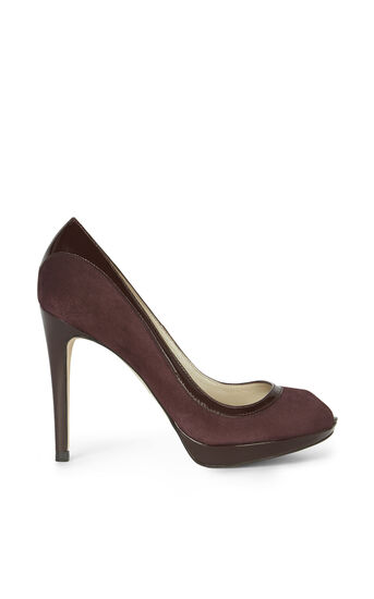 Karen Millen, PATENT AND SUEDE PEEP TOE Purple 0