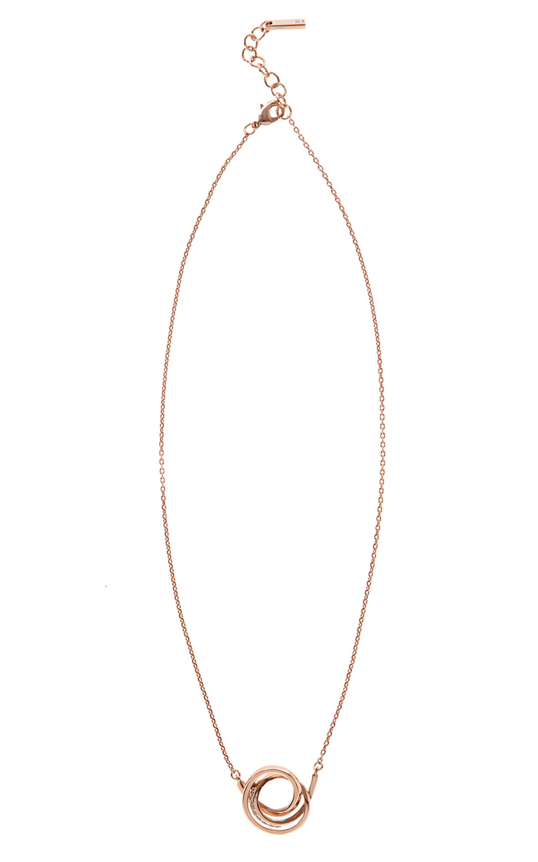 Karen Millen, Crystal Ribbon Pendant Rose Gold Colour 0