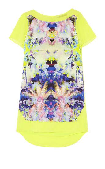 Karen Millen, PRINTED SILK T-SHIRT DRESS Multicolour 0