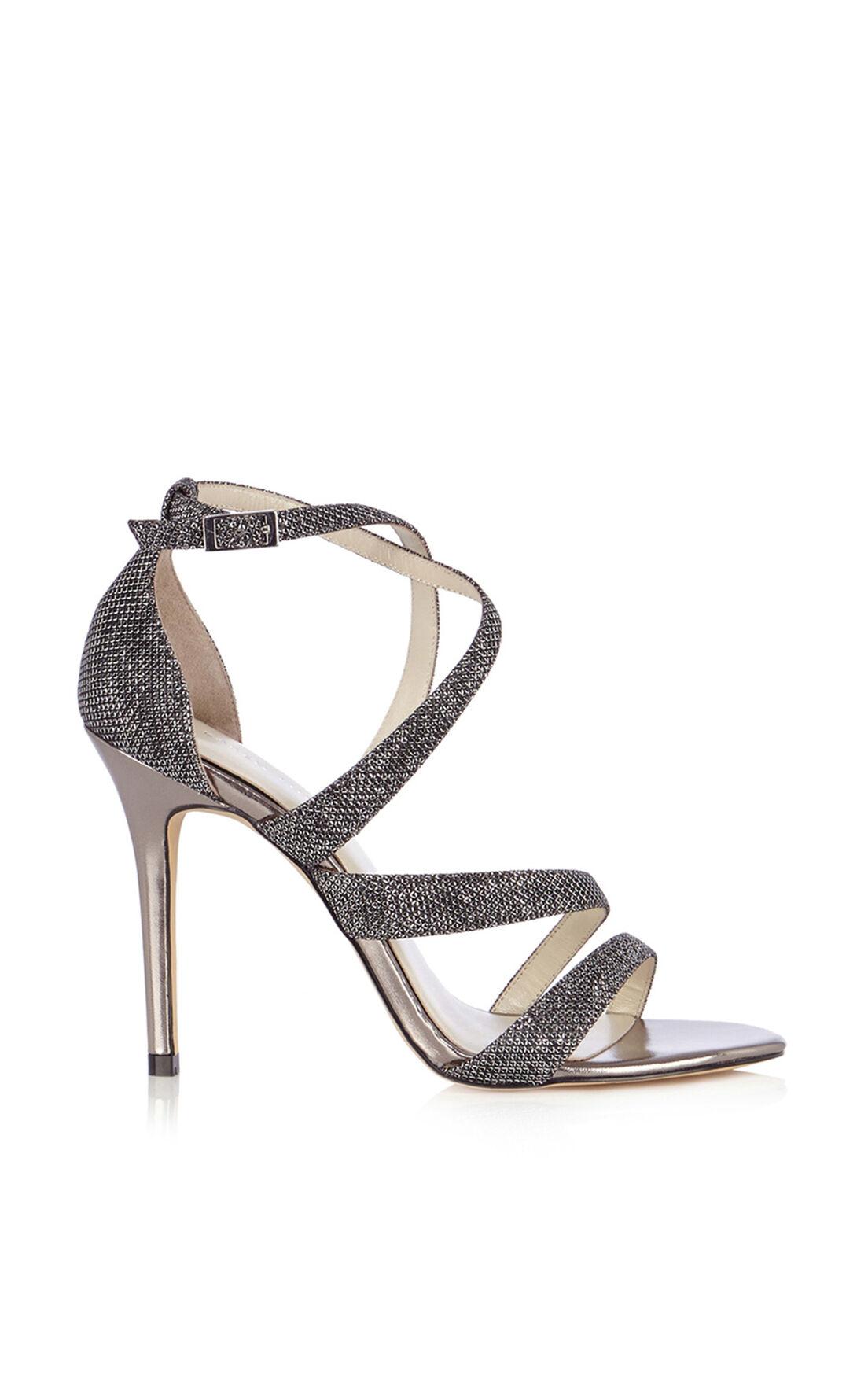 Karen Millen, Glitter Fabric Sandal Pewter 0