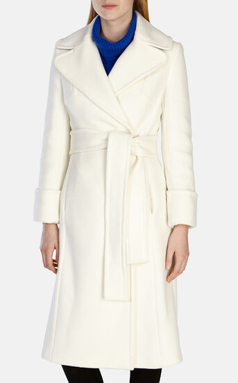 Karen Millen, WINTER WHITE LONG LINE BELTED Ivory 2