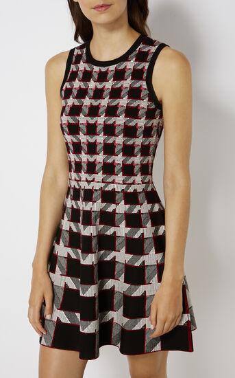 Karen Millen, GRAPHIC HOUNDSTOOTH DRESS Black/Multi 2