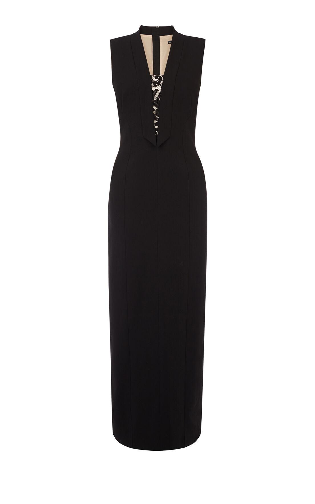 Karen Millen, TUXEDO MAXI DRESS Blk & Ivry 0