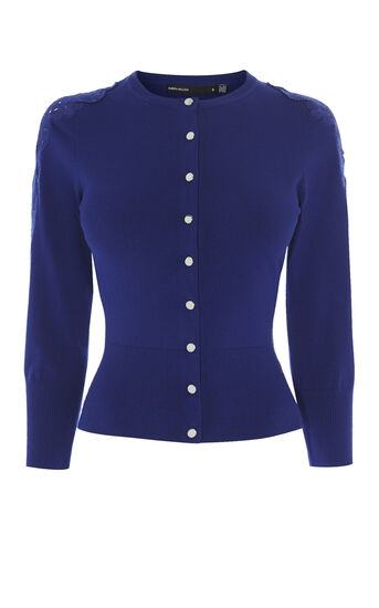 Karen Millen, LACE SHOULDER CARDIGAN Blue 0