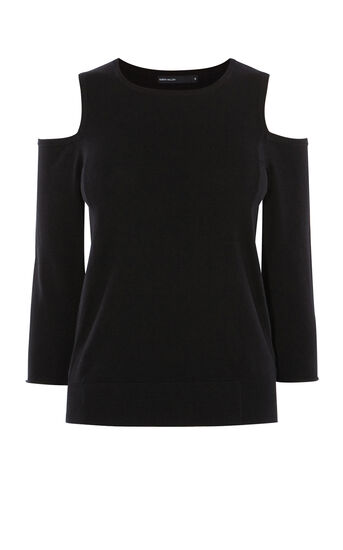 Karen Millen, CUTOUT SHOULDER JUMPER Black 0