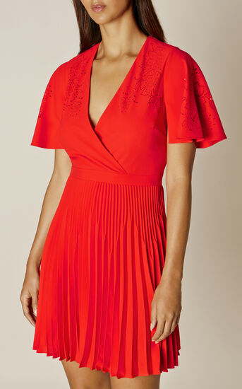 Karen Millen, LASER CUT-OUT DRESS Red 2