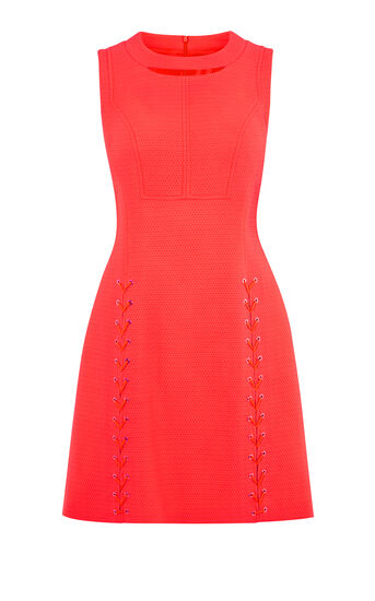 Karen Millen, LACE-UP DRESS Pink 0