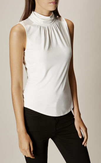 Karen Millen, GATHERED-NECK TOP Ivory 2