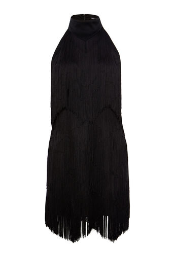 Karen Millen, FRINGED MINI DRESS Black 0