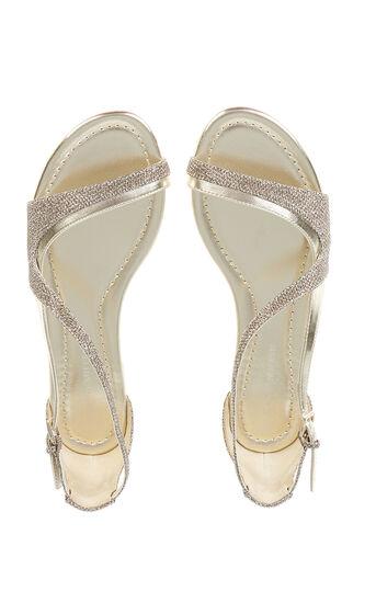 Karen Millen, GLITTER FLAT SANDAL Gold 4