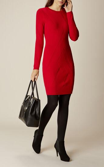Karen Millen, GRAPHIC RIB DRESS Red 1