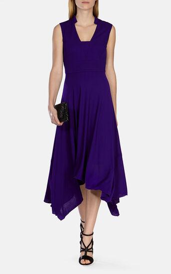 Karen Millen, FLUID CREPE LONG DRESS Purple 1