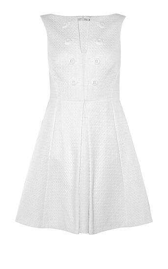Karen Millen, BUTTON-DETAIL DRESS White 0