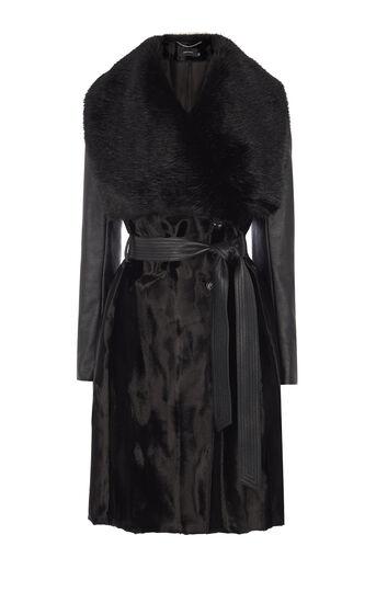 Karen Millen, BLACK SIGNATURE PONY COAT Black 0