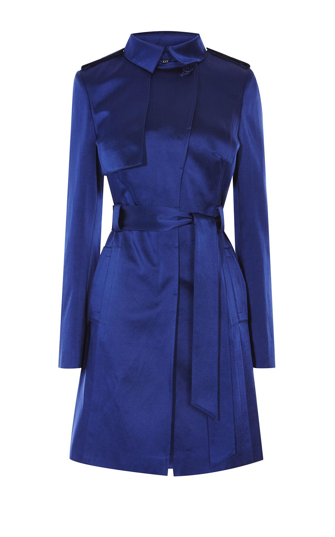 Karen Millen, SATIN MAC COAT Blue 0