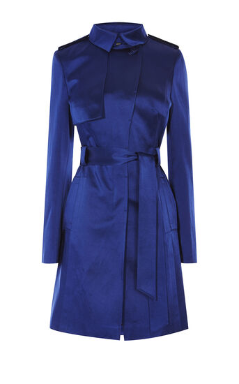 Karen Millen, SATIN MAC COAT Blue 0