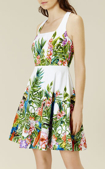 Karen Millen, BOTANICAL-PRINT COTTON DRESS Multicolour 2