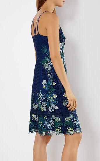 Karen Millen, TROPICAL-EMBROIDERY LACE DRESS Blue/Multi 3