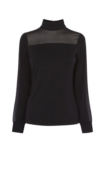 Karen Millen, TURTLE-NECK BLOUSE Black 0