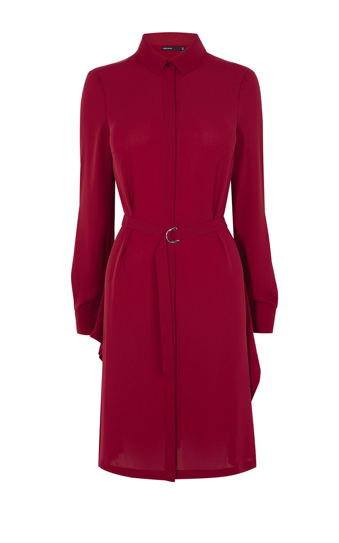 Karen Millen, ASYMMETRIC SHIRT DRESS Dark Red 0