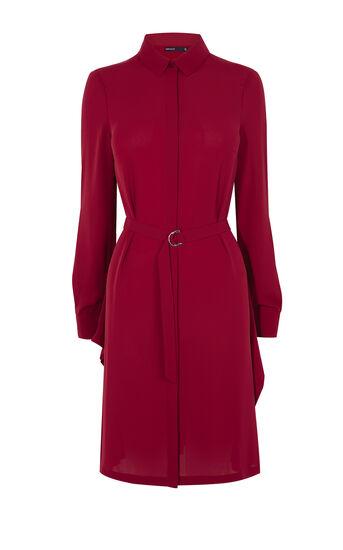 Karen Millen, ASYMMETRIC SHIRT DRESS Dark Red 0