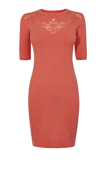 Karen Millen, LACE DETAIL KNIT DRESS Pink 0