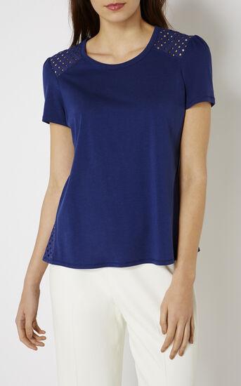 Karen Millen, BRODERIE-PANELLED T-SHIRT Blue 2