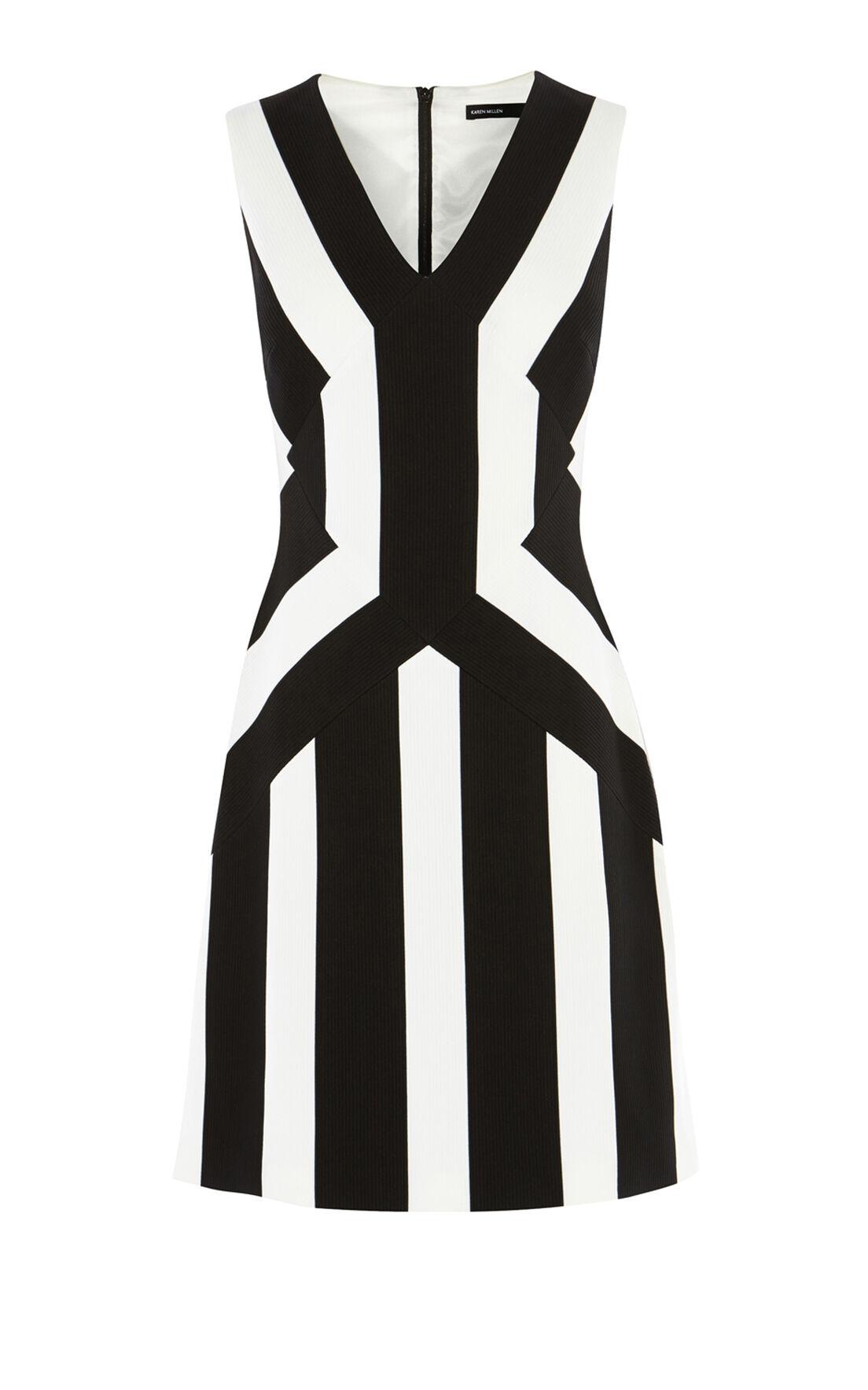 Karen Millen, STRIPED A-LINE DRESS Blk&Wht 0