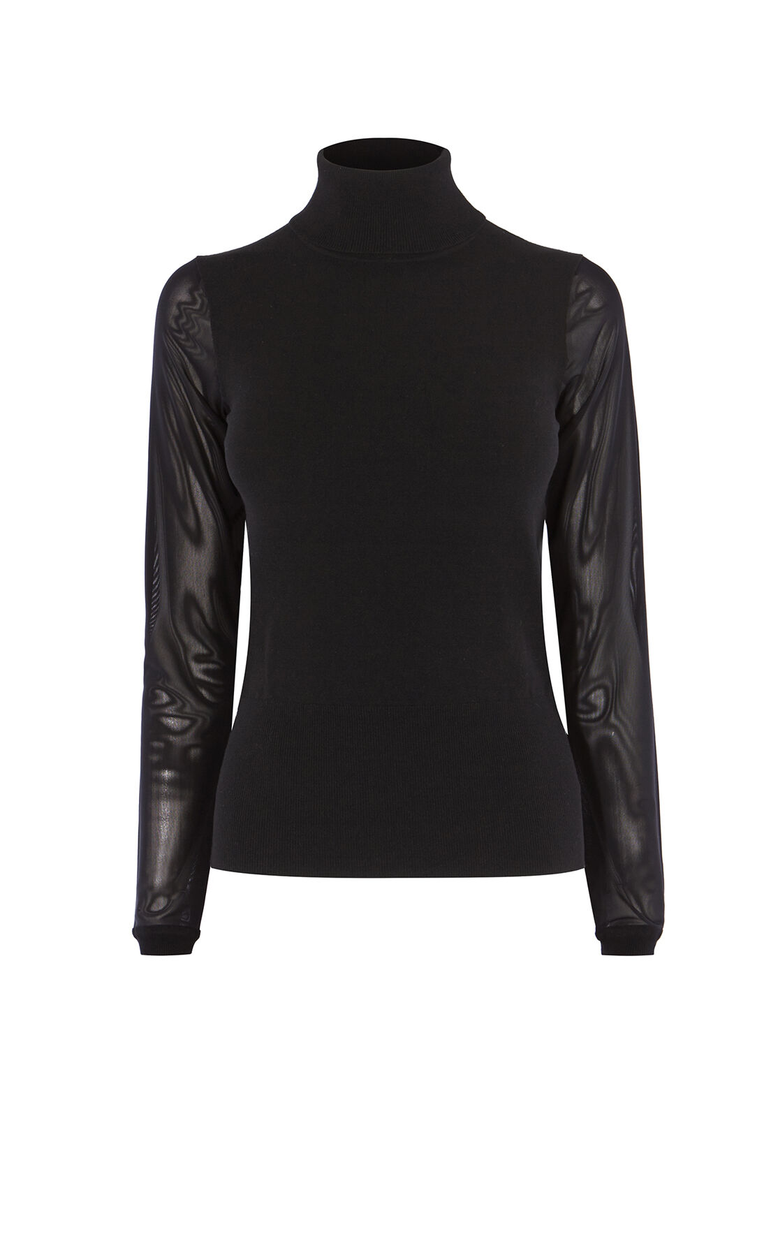 Karen Millen, MESH-SLEEVED TOP Black 0