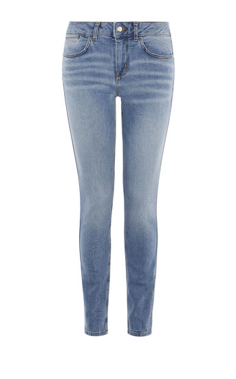 Karen Millen, BLEACH-WASH SKINNY JEANS Pale Denim 0
