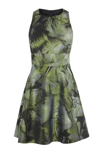 Karen Millen, PALM-LEAF JACQUARD DRESS Green/Multi 0