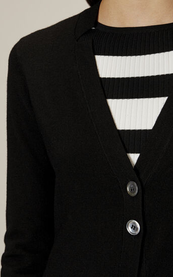 Karen Millen, LONG-LINE POLO CARDIGAN Black 4