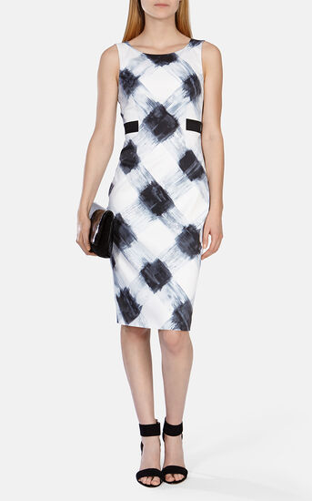 Karen Millen, Art print stretch dress Blk&Wht 1