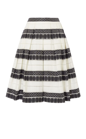 Karen Millen, DEVORÉ STRIPE MIDI SKIRT Black & White 0