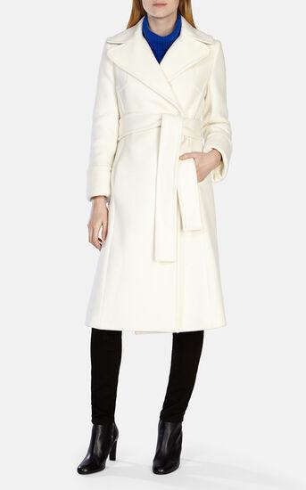 Karen Millen, WINTER WHITE LONG LINE BELTED Ivory 1