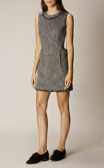 Karen Millen, TWEED DRESS Black/Multi 1