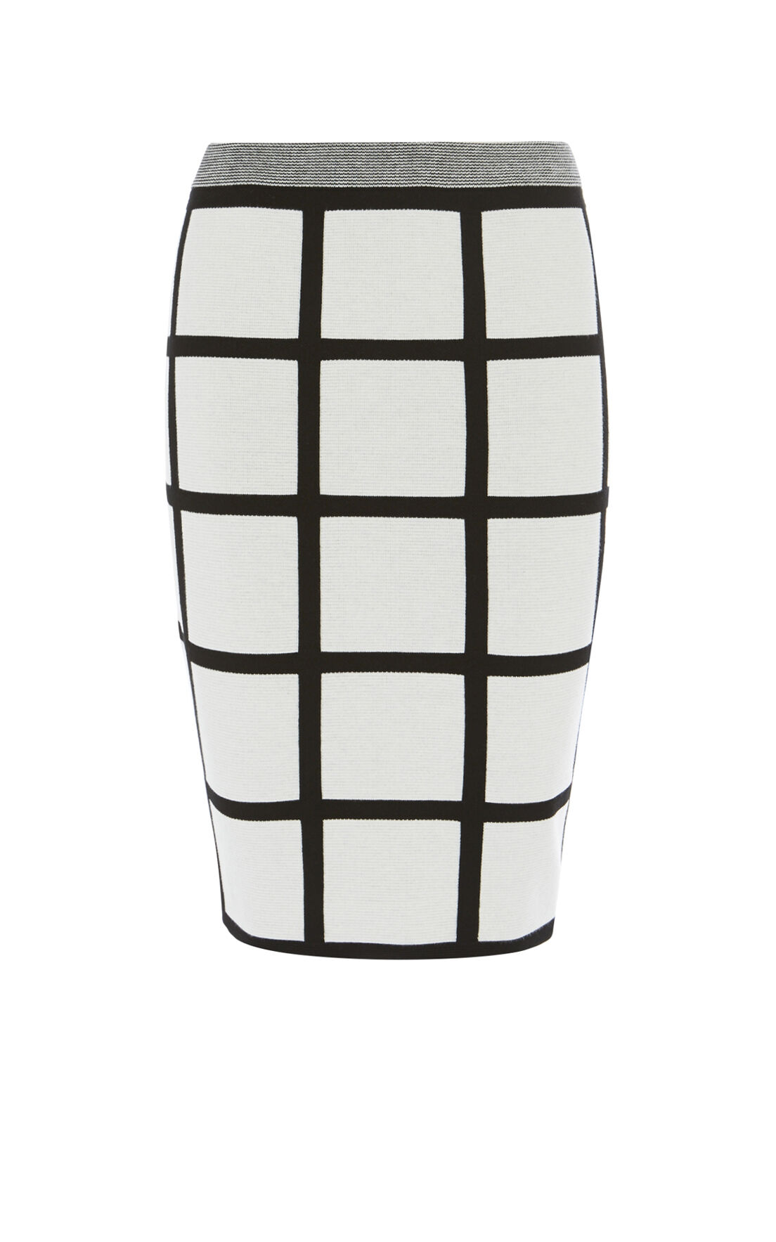 Karen Millen, CHECK PENCIL SKIRT Black & Ivory 0