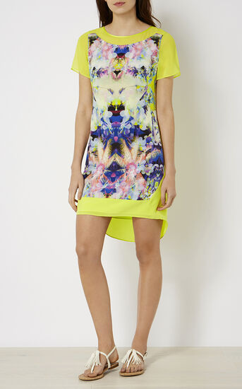 Karen Millen, PRINTED SILK T-SHIRT DRESS Multicolour 1