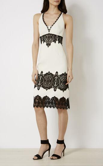 Karen Millen, LACE CREPE DRESS White/Multi 1