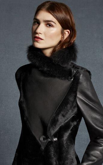 Karen Millen, BLACK SHEARLING COAT Black 2