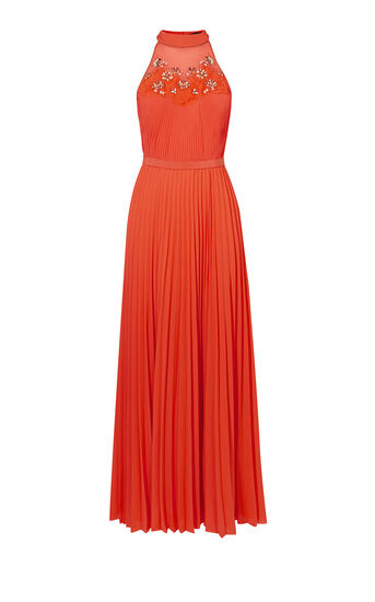 Karen Millen, JEWEL PLEATED MAXI DRESS Coral 0