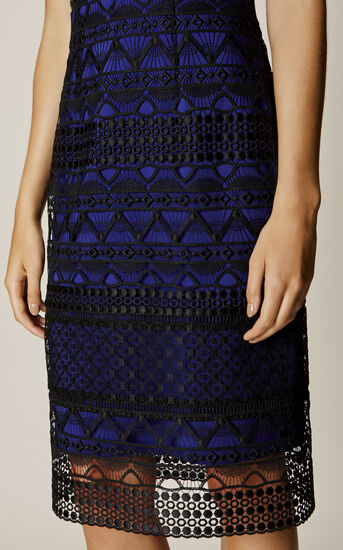 Karen Millen, GRAPHIC LACE PENCIL DRESS Black/Multi 4