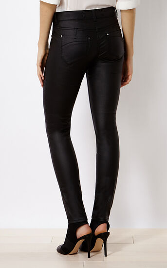 Karen Millen, DENIM-COATED SKINNY JEAN Black 3