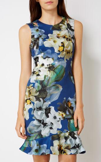 Karen Millen, FLORAL SCUBA DRESS Blue/Multi 2