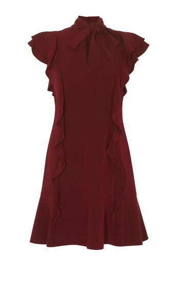 Karen Millen, VICTORIAN RUFFLE DRESS Dark Red 0