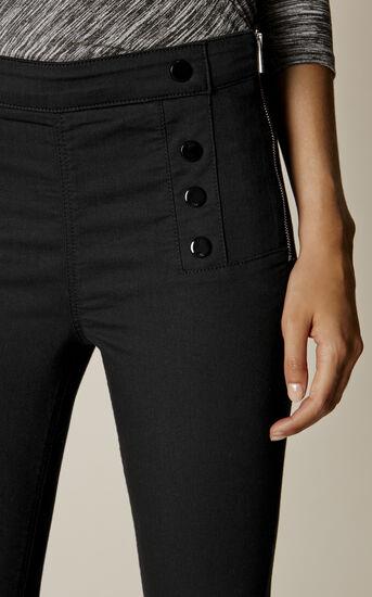 Karen Millen, BLACK BUTTON LEGGINGS Black 4