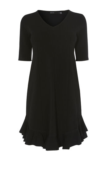 Karen Millen, FRILL-HEM DRESS Black 0