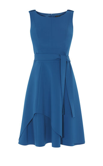 Karen Millen, ASYMMETRIC FLARED DRESS Blue 0